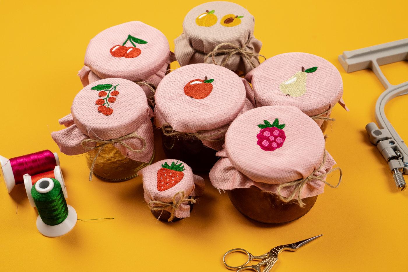 Kirsche, Erdbeere, Johannisbeere, Apfel, Birne, Himbeere und Mirabelle als Stickdatei