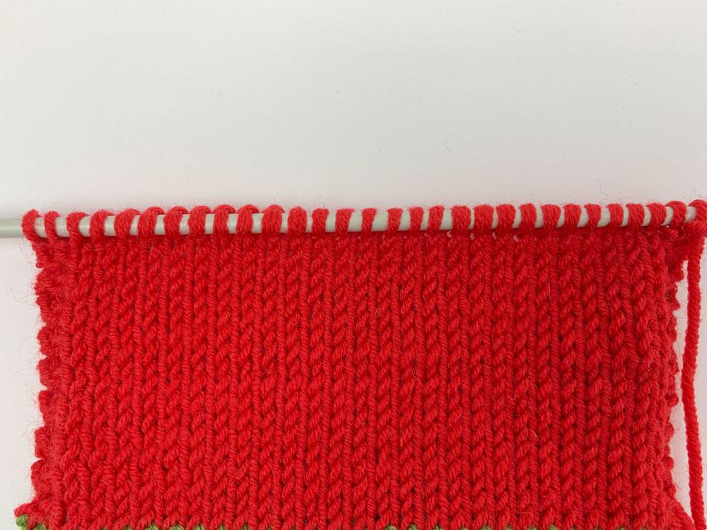 Weihnachtssocke stricken - Fersenwand