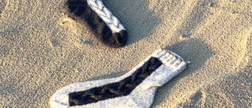 ImmiSocks Socken mit Zopfmusterstreifen
