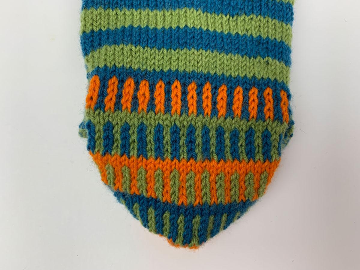 Die Fersenwand beim fertigen Socken