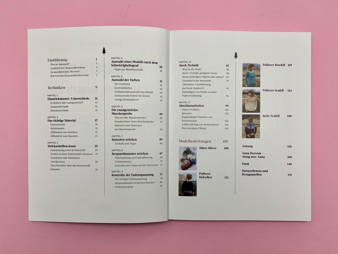 Jacquard - Am Stück gestrickt - Inhaltsverzeichnig