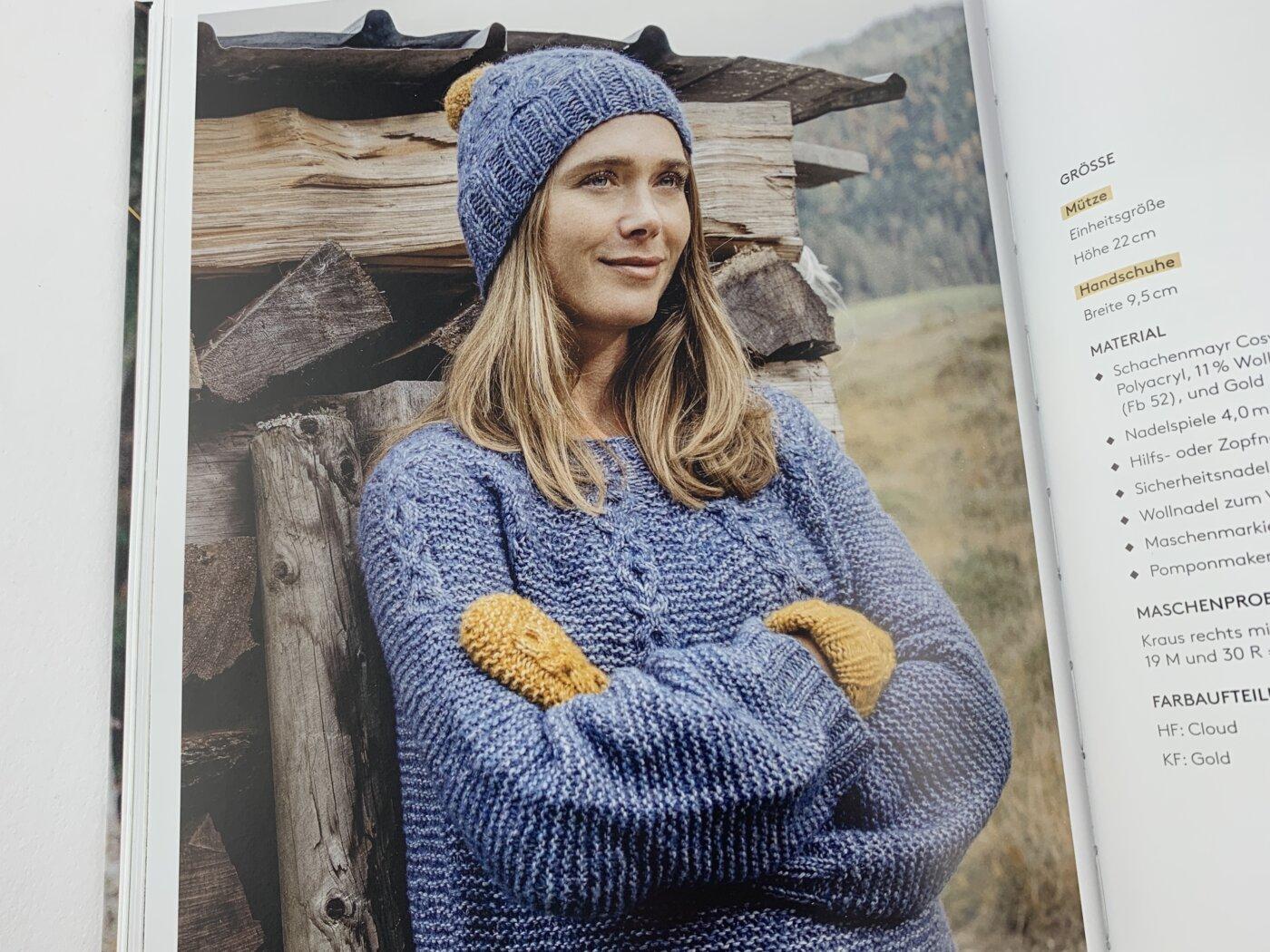 """Pullover """"Ragnheidur"""", passend dazu die Mütze """"Hulda"""" und die Handschuhe """"Hafdís""""."""